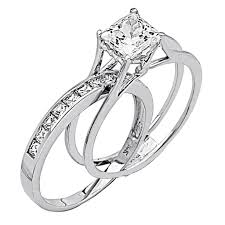 difference between engagement and wedding ring wedding rings for princess cut 14k white gold high poliosh