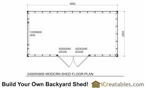 2400x4800 studio shed plans center door