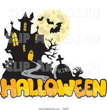 clipart of halloween clipart of a haunted mansion and halloween greeting by visekart