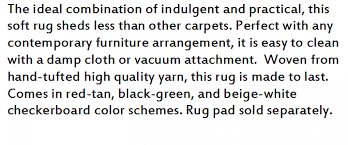 Checkerboard Area Rug Furniture Product Description Ozio Media