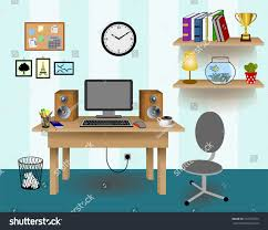 Desk Decor by Computer Desk Decor Colorful Retro Creative Stock Vector 216375355