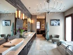 Unique Modern Chandeliers Bathrooms Master Bathroom With Long Bathroom Vanity Cabinet And
