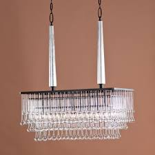 modern hanging rectangular chandelier with bronze frame and