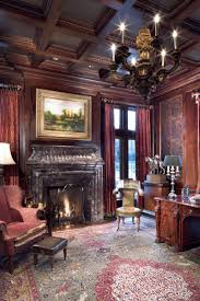 Victorian Style Home Office Formal Home Office With Antique English Desk Cherry Wood Paneling
