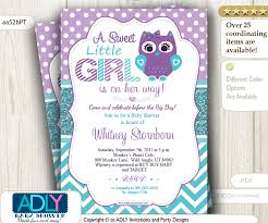purple teal owl baby shower invitation adly invitations and