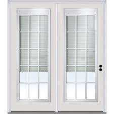 exterior doors with blinds between glass mmi door 75 in x 81 75 in classic clear low e glass 15 lite