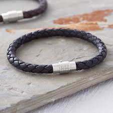leather bracelet with silver clasp images Men 39 s personalised clasp plaited leather bracelet hurleyburley jpg