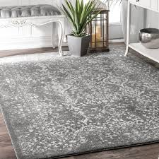 nuloom vintage floral ornament silver area rug 8 u0027 x 10 u0027 free