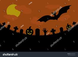 halloween background gloomy cemetery stock vector 499389304