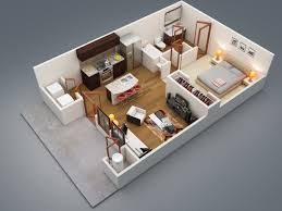 Average Square Footage Of A 1 Bedroom Apartment 3d Large Modern One Bedroom Apartment Using King Sized Bed And