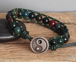 bracelet bead leather images Mens green stone beaded leather bracelet natural bloodstone jpg