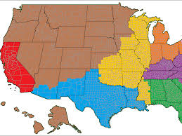 A Map Of The Us Map That Shows The Us Broken Into Regions With The Same Population