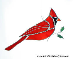 stained glass northern cardinal ornament lakeside stained glass