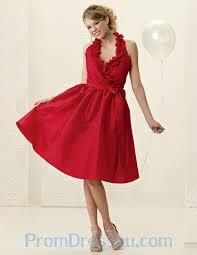 buy tailor made latest design halter short red a line knee length
