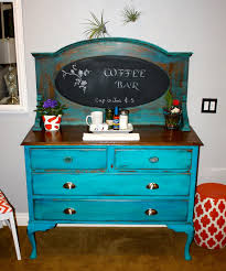 repurposed an antique buffet into a coffee bar turquoise milk