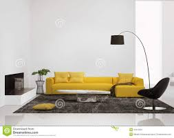 modern interior with a yellow sofa in the living room stock