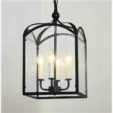 wrought iron ceiling lights american country minimalist square glass and wrought iron pendant