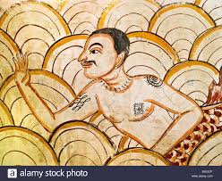 an old spa wall painting or mural drawn in the tunnel of five star an old spa wall painting or mural drawn in the tunnel of five star hotel mandarin oriental dhara dhevi chiang mai thailand
