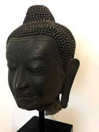 Decorative Buddha Head Large Bronze Buddha Head With Stand Thailand