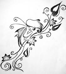 cool black outline fairy tattoo stencil