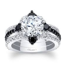 bridal engagement rings images Barkev 39 s black diamond halo bridal set 7967sbkw jpg