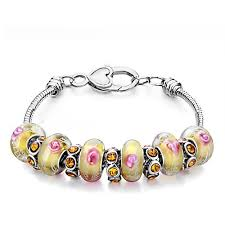 charm bracelet murano glass images Pink flower topaz murano glass beads and swarovski crystal charms jpg