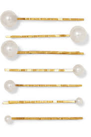 hair slides behr set of seven swarovski pearl embellished gold