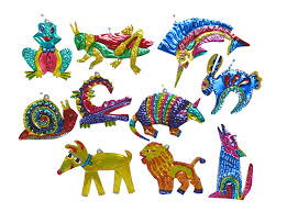 mexican tin ornaments animal designs are handmade in oaxaca mexico