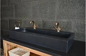 1000mm double sink bathroom black basalt stone basin looan dark