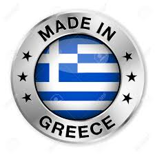 Stars On Chicago Flag Made In Greece Silver Badge And Icon With Central Glossy Greek