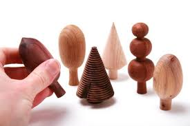 tree shaped ornaments each made of different woods boing boing