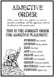 adjective order free teacher worksheets