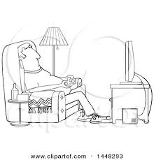 clipart of a cartoon black and white lineart man paying video