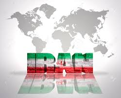 World Map Iran by Word Iran With Iranian Flag On A World Map Background Stock Photo