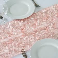 pink rosette table runner rosette flower 3d satin table runner table 14 x 108 blush