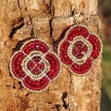 red beadwork earrings african beaded earrings maasai