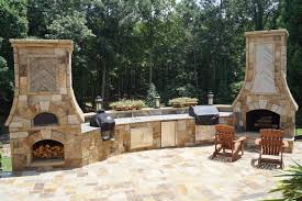 outdoor cooking spaces fireplace pizza oven combo plans outdoor kitchen ideas for small