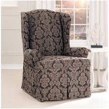 Bed Bath And Beyond Slipcovers Furniture Plain White Wingback Chair Slipcover With Patterned