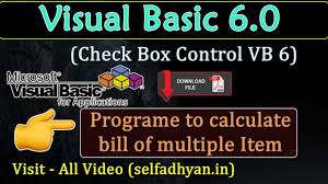visual basic tutorial in hindi pdf check box control use and calculate multiple item bill in visual