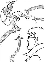 printable free spiderman coloring pages fighting doctor