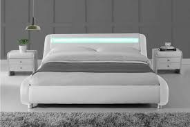 madrid led lights modern designer bed white faux leather single