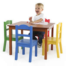tot tutors focus wood table and 4 primary colored chairs set