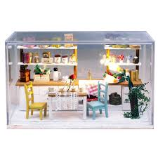 dollhouse furniture kitchen kitchen wooden doll house miniature diy assemble dollhouse