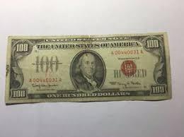 vintage 1966 hundred dollar bill 100 seal us note a 00440031