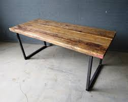Reclaimed Wood And Iron Dining Table Reclaimed Industrial Chic 6 8 Seater Solid Wood And Metal