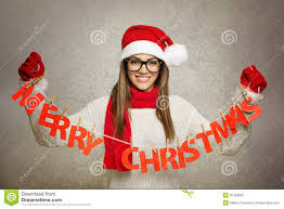 beautiful santa with merry text decoration