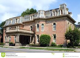 vintage second empire style red brick house mansard slate roof vintage second empire style red brick house mansard slate roof