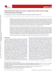 temp ature chambre b experimental study on water evaporation pdf available