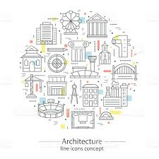 modern thin line concepts with architecture elements stock vector