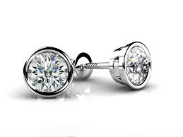 earring stud set bezel set diamond stud earrings